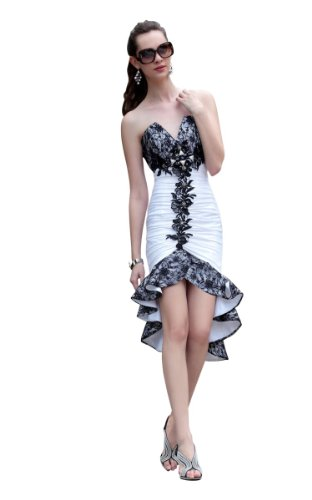 CharliesBridal Black & White V-Neck Strapless Asymmetric Knee Length Cocktail Dress - M - Black and White