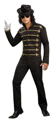 Rubies Michael Jackson Costume for Men. Black zipper front lightweight jacket, Gold shoulder epaulettes