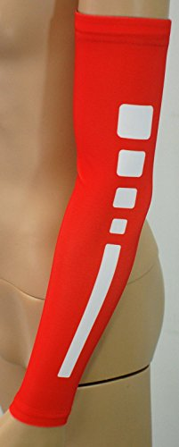 Nexxgen Sports Apparel Compression Arm Sleeve (Single)- 40 Styles and Colors- Men, Women, Youth - Basketball Shooter, Football, Baseball, Lymphedema, Tattoo (Medium, Elite Red/White)