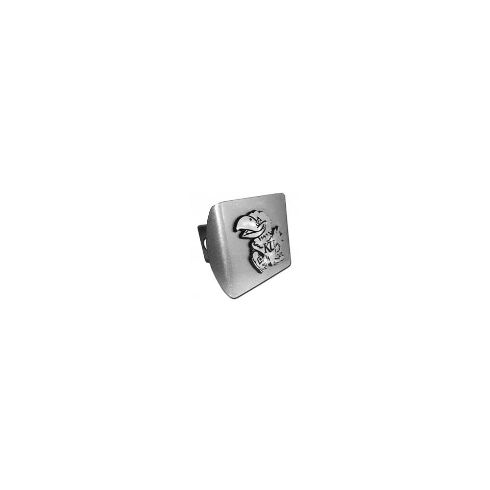 University of Kansas Jayhawks Brushed Silver with Chrome Jayhawk Emblem Chrome Plated Metal Trailer Hitch Cover Fits 2 Inch Auto Car Truck Receiver
