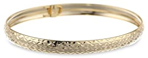 Goldtone Finish Silver Classic Diamond Cut Flex Bangle Bracelet