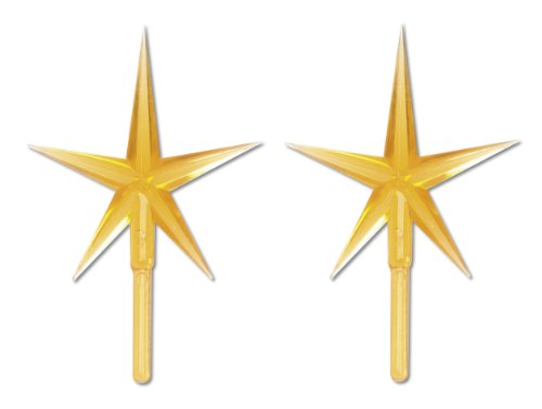 Darice P0681 2-Piece Ceramic Tree Star Ornament, Gold