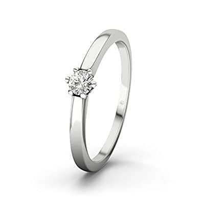 21DIAMONDS Women's Ring Seoul SI2 0.15 CT Brilliant Cut Diamond Engagement Ring - Silver Engagement Ring
