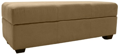 Epic Furnishings Microfiber Suede Upholstered Tufted Padded Hinged Storage Ottoman Bench, 48 by 19 by 18-inch, Khaki
