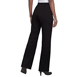 Roamans Women's Plus Size Tall Ponte Bootcut Knit Pants (Black,16 T)