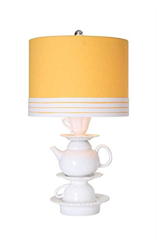 Ceramic Teapot Table Lamp With Yellow Linen Shade (Teapot Table compare prices)