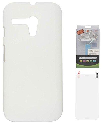 DMG Hard Back Protective Cover Case For Motorola Moto G XT1032 (White) + 2200 MAh PowerBank + Matte Screen