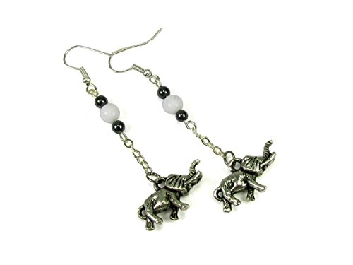 Walking Elephant Drop Earrings With Hematite And Faux Pearl Beads
