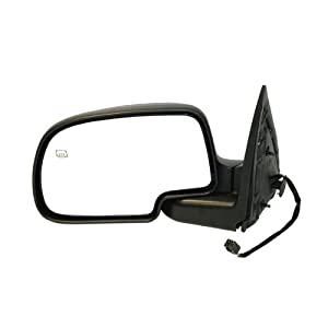 1999-2002 Chevy/Chevrolet Silverado, GMC Sierra Denali Pickup Truck 1500 2500 3500 & 2000-2002 Suburban, Tahoe, Yukon XL Power With Heat Black Textured Housing With Chrome Back Plate Cover Cap Folding Heated Rear View Mirror Left Driver Side (1999 99 2000 00 2001 01 2002 02)