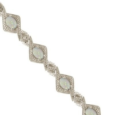 Antique Style Opal and Diamond Link Bracelet 14k White Gold (5.63ctw)