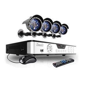 Zmodo 8CH Video DVR Security Surveillance Camera System with 4 CCTV IR Outdoor Surveillance Black Cameras - 500GB HD