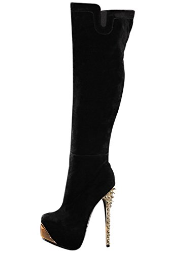 Onlymaker Ladies Women'S High Heel Fashion Knee High Boots Rivet Heel Shoes Handmade For Wedding Party Dress Shoes Suede Black Us 11