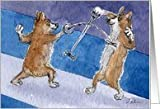 The Corgi Games, fencing, corgi, dog, Card