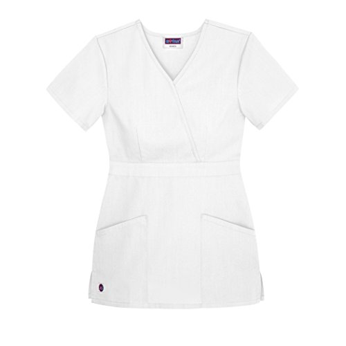 Sivvan Women's Scrubs Mock Wrap Top (Available in 12 Colors) - S8302 - White - M (White Nursing Cap compare prices)