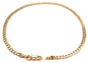 14k Italy Yellow Gold 3.2mm Cuban Curb Link Chain Bracelet 7