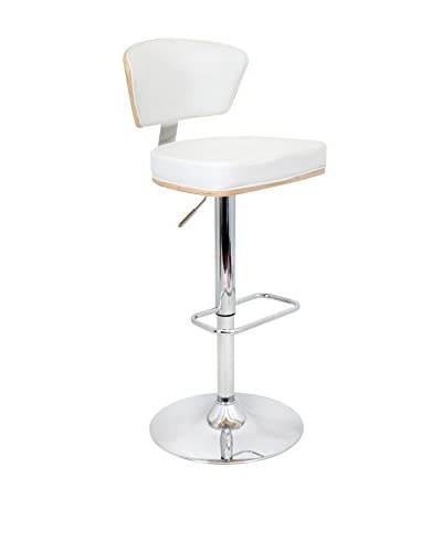 LumiSource Ravinia Bar Stool, Bamboo/White
