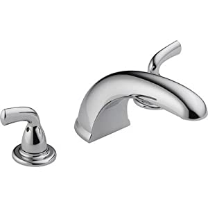 Bundle-48 Foundations Core-B Double Handle Deck Mount Roman Tub Faucet Trim (2 Pieces) Finish: Chrome