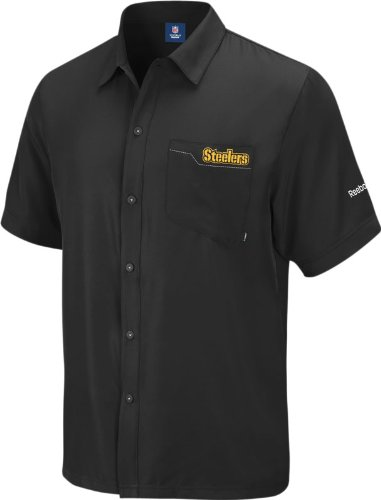 Reebok Pittsburgh Steelers Sideline Short Sleeve Button Down Shirt