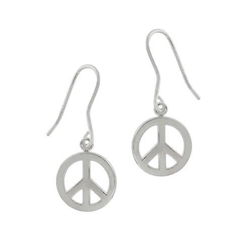 Sterling Silver Dangle Peace Sign Earrings
