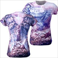 Hot Leathers Angel Wings Ladies Sublimation T-Shirt (Multi, X-Large)