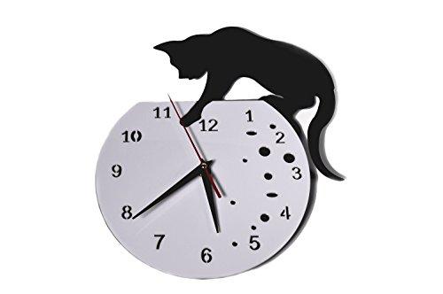 moco かわいい黒猫掛け時計 黒マンガン電池付 ハイセンス 面白 猫好きに!プレゼントにも! (デザイン1)
