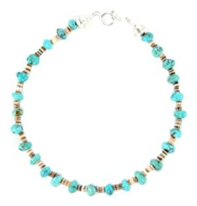 By Navajo artist Naomi Garcia: Beautiful! 10 inch Genuine Turquoise Navajo Women's Anklet