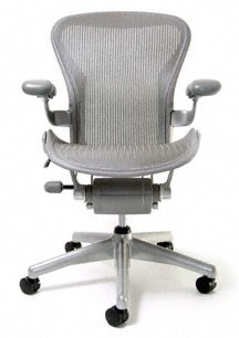 Aeron Chair - Basic by Herman Miller - Titanium Frame - Mineralite Classic Size B (Medium)