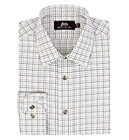 Pure Cotton Herringbone Fine Checked Twill Shirt