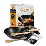 Ken Hom 5-Piece Carbon Steel Non-Stick Flat Bottom Wok Stir Fry Making Pan Utensil Set