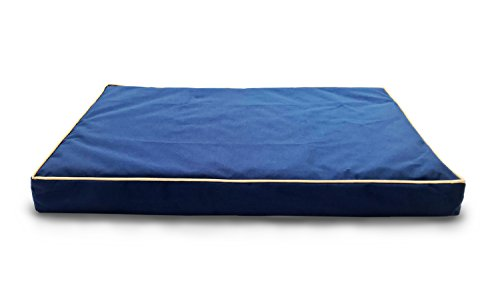 Furhaven Pet Indoor Outdoor Water-Resistant Deluxe Orthopedic Dog or Cat Pet Bed, Medium, Blue
