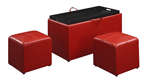 Convenience Concepts Designs4Comfort Sheridan Faux Leather Storage Bench with 2 Side Ottomans, Red (Country Storage Bench compare prices)