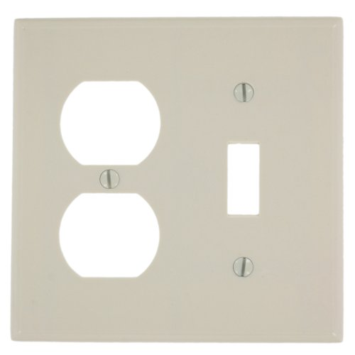 Leviton 78005 2-Gang 1-Toggle 1-Duplex Device Combination Wallplate, Standard Size, Thermoset, Device Mount, Light Almond