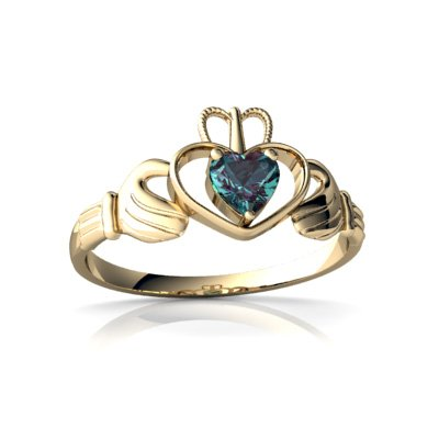 Created Alexandrite 14ct Yellow Gold Celtic Claddagh Ring