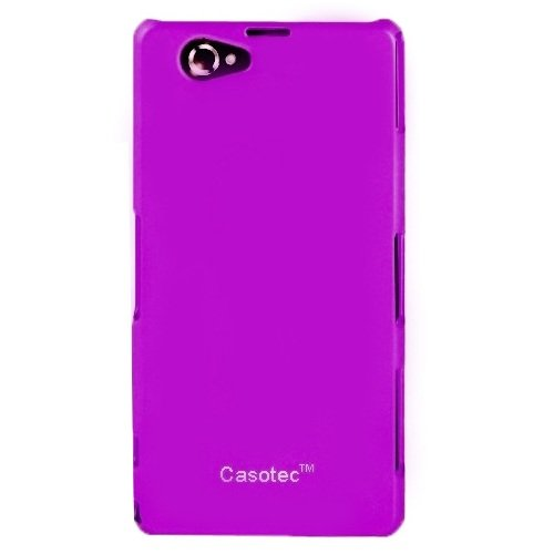 Casotec Ultra Slim Hard Shell Back Case Cover w/ Screen Protector for Sony Xperia Z1 Compact - Purple  available at amazon for Rs.125