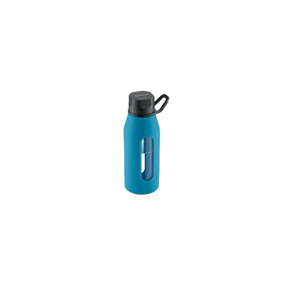 16 Oz Classic Glass Water Bottle with Black Lid and Jacket in Cobalt