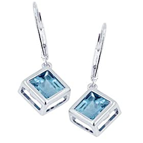 Sterling Silver 7×7mm Square Blue Topaz Earrings
