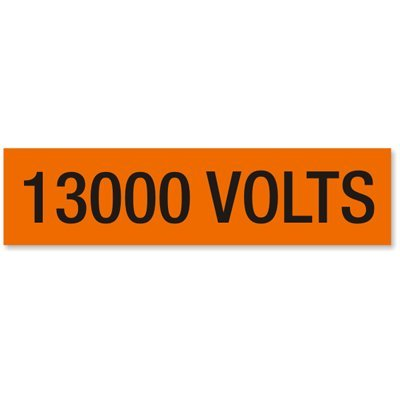 "13000 Volts, Large (2-1/4"" x 9"") Label"