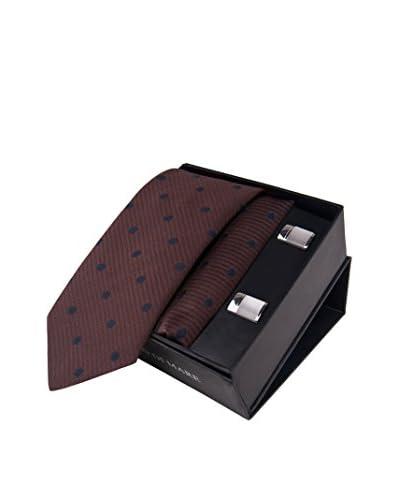 GIORGIO DI MARE Set: Pochette da Taschino+ Cravatta + Gemelli [Marrone]