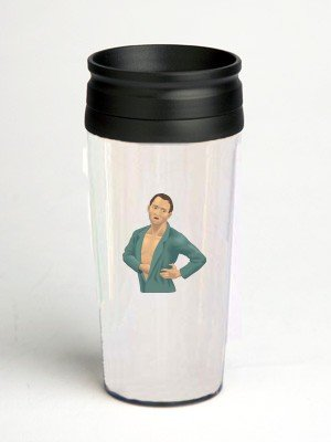 16 oz. Double Wall Insulated Tumbler with man in pain - Paper Insert