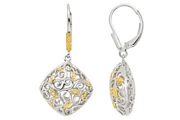 Sterling Silver Diamond Leverback Earrings with Yellow Rhodium