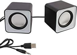 ANKGLEAS Mini Portable Classic Multimedia Speaker Powered by USB 2.0 and 3.5mm Jack for Sound Output (White/Black) - 2 Years Warranty