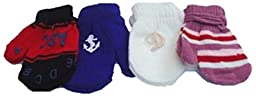 Four Pairs of One Size Magic Stress Gita Mittens for Infants Ages 6-24 Months