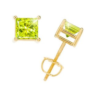 Princess Cut 14K Yellow Gold Stud Earrings with Greenish-Yellow Diamond 2 carats each Princess cut