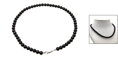 Rosallini Black Pearl Necklace w/ Metal Clasp Costume Jewelry