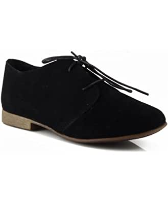 Breckelle Sandy-31s Lace Up Suede Oxford Flats BLACK (10)