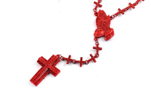 New! Iced Out Cross Linked Chain Rosary w/ Praying Hands & Paves Cross RED