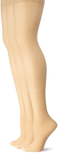 L'eggs Women's Energy 3 Pack Control Top Reinforced Toe Panty Hose, Nude, B