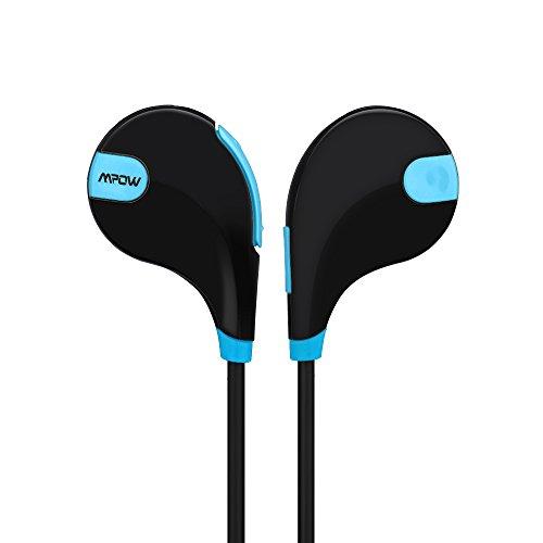 Mpow Swift Auriculares estéreo Bluetooth 4.0 para correr cascos deportivos y resistente al agua y sudor. Auriculares con Tecnología aptX Avanzada para iPhone, iPad, Samsung, PC y otros teléfonos inteligentes - Color Negro