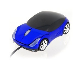 Fashion Ferrari Car Shaped Usb Wired Scroll Wheel Optical Mouse (Blue)