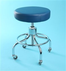 Chrome Adjustable Exam Stool With Round Foot Ring - Burgundy front-634882